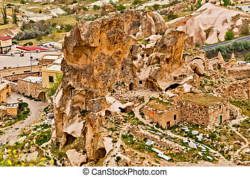 valley at Cappadocia, Turkey. Volcanic mountains in Goreme national park