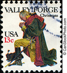 Valley Forge - UNITED STATES - CIRCA 1977: A stamp printed...