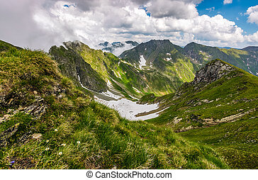 valley in romanian mountains view from the edge above
