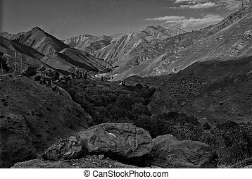 Valley Leading to Mountains in BW