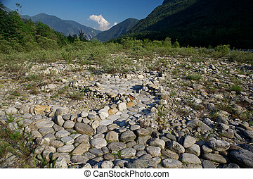 Maggia valley in the Switzerland mountains