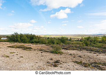 valley near in Haukadalur hot spring area - travel to...
