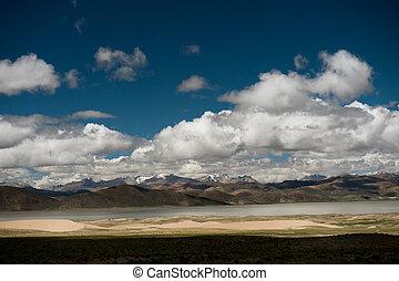 Valley of Brahmaputra river Himalayas Tibet - Mountain lake...