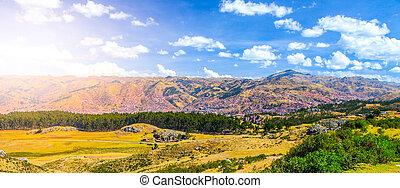 Valley of Cusco City, Peru. Panorama photo.