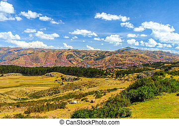 Valley of Cusco City, Peru. Panoramic photography.