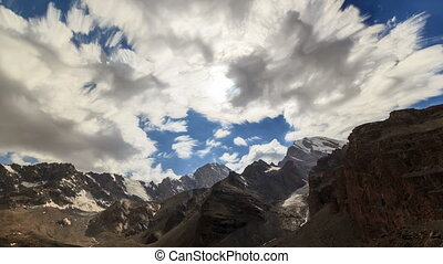 Valley of the Sun. Zoom. TimeLapse. Clouds blurred. Tajikistan