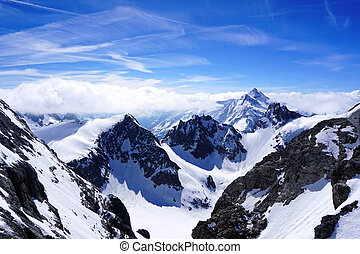 Valley of Titlis snow mountains in Engelberg, Lucerne,...