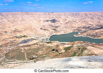 valley of Wadi Al Mujib river and dam, Jordan