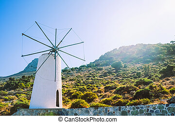 Valley of windmills on the island of Crete, Greece. Tourist places in Europe