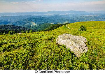 valley on hillside of mountain range - mountain panorama...