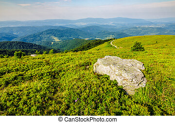 valley on hillside of mountain range - mountain panorama...