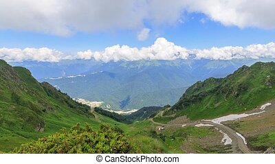 Valley Rosa Khutor. Panorama. Time Lapse. Sochi, Russia....