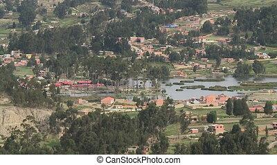 Valley Settlements Near A Water Body, La Paz - Wide high...