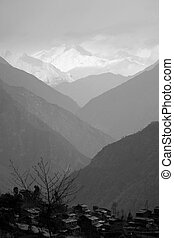valley - mountain village in valley silhouette, himalayas,...