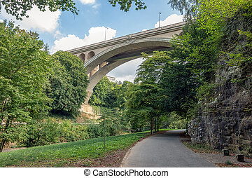 Valley through Luxembourg city with view at bottom Adolphe bridge