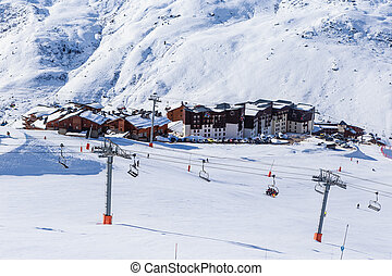 Valley view of Val Thorens. Village of Les Menuires. France
