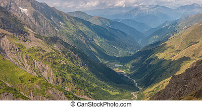 Valley with River and Mountains