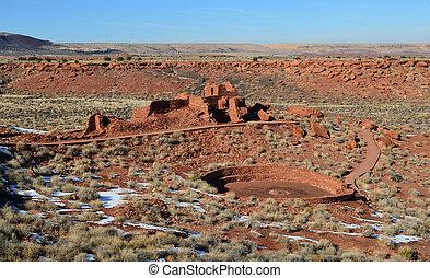 Valley With Ruins of a Pueblo Village