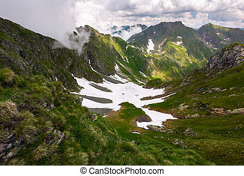 valley with snow in summer mountains. gorgeous mountainous...