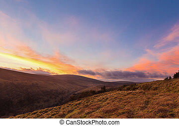 Valleys at sunset in Wicklow Mountains