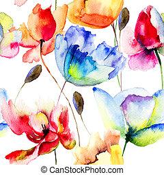 vallmo, blomningen, seamless, tapet, tulpaner