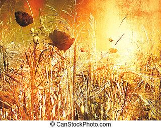 vallmo, fält, -, årgång, målning, titta