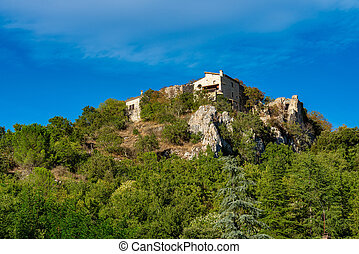 vallon, ruines, ardeche, village, pont, france, d'arc, vieux