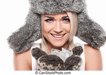 valor en cartera de mujer, encima, sexy, invierno, plano de fondo, aislado, retrato, cierre, sonriente, rubio, cara, hielo, hat., blanco