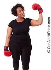 valor en cartera de mujer, gente, -, boxeo, sobrepeso, joven, aislado, fondo negro, africano, guantes blancos