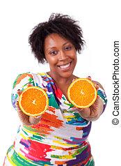 valor en cartera de mujer, gente, rebanadas, -, sobrepeso, joven, aislado, fondo negro, africano, naranja, blanco