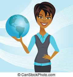 valor en cartera de mujer, globo