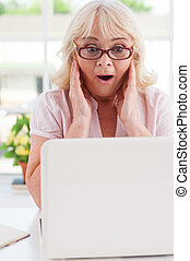 valor en cartera de mujer, manos, sorprendido, cabeza, woman., positivity, excitado, 3º edad, expresar, mirar, computador portatil, mientras