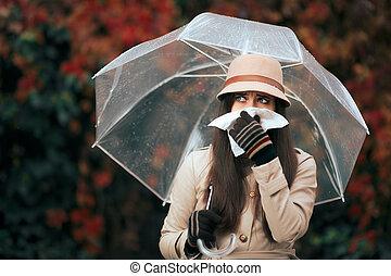 valor en cartera de mujer, nariz, paraguas, enfermo, lluvia...