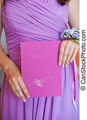 valor en cartera de mujer, púrpura, maletín, con, espacio, para, texto