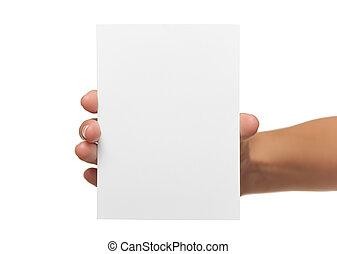 valor en cartera de mujer, tarjeta comercial en blanco, en, mano.