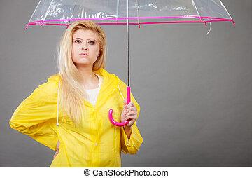 valor en cartera de mujer, transparente, paraguas