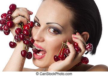 valor en cartera de mujer, un, ramo, rojo, cerezas