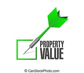 valor, propriedade, cheque, ilustração, dardo