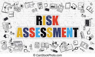 valoración de riesgo, concept., multicolor, blanco, brickwall.