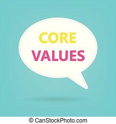 valori, centro, scritto, bolla discorso