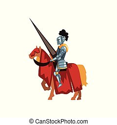 Valorous knight riding horse with lance in hand. Royal...