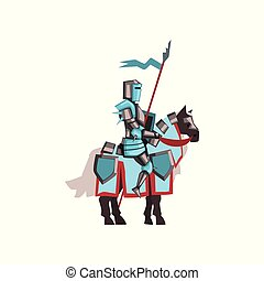 Valorous royal knight riding horse with shield and flag....