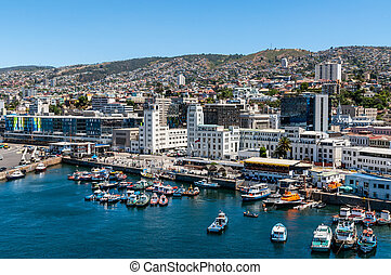City scape of Valparaiso as seen from the harbor. Valpraiso is a city and commune of Chile, and one of the country's most important seaports and an increasing cultural center in the Southwest Pacific hemisphere.