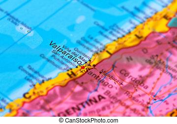 valparaiso, ciudad, en, chile, en, el, mapa