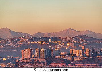 valparaiso, coucher soleil, collines