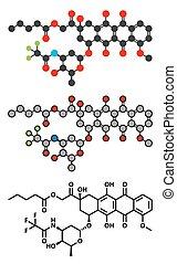 Valrubicin bladder cancer drug molecule.