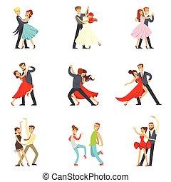 vals, bailando, bailarín, pareja, tango, bailes, conjunto, ...