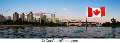 vals, downtown, composite., columbia, canadees, kreek, nationale, brits, canada., vlag, vancouver