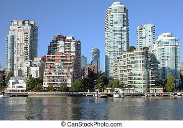vals, kreek, bc, downtown, skyline, vancouver, canada.