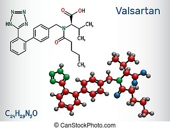 Valsartan molecule. It is used to treat high blood pressure, heart failure. Skeletal chemical formula. Illustration